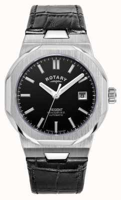 Rotary Hombres | regente | automático | esfera negra | correa de cuero negro GS05410/04