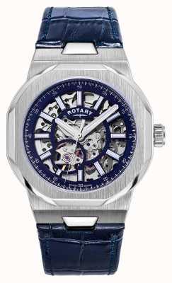 Rotary Hombres | regente | automático | esfera esqueleto azul | correa de cuero azul GS05415/05