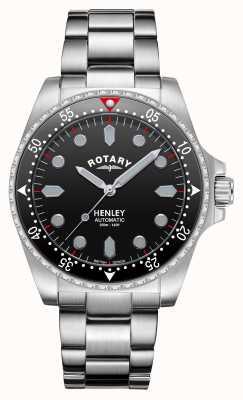 Rotary Hombres | henley | automático | esfera negra | pulsera de acero inoxidable GB05136/04