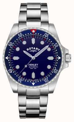Rotary Hombres | henley | automático | esfera azul | pulsera de acero inoxidable GB05136/05