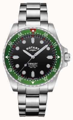 Rotary Hombres | henley | automático | esfera negra | pulsera de acero inoxidable GB05136/71