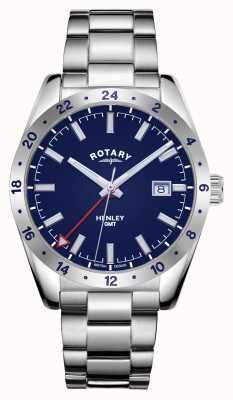 Rotary Hombres | henley | gmt | esfera azul | pulsera de acero inoxidable GB05176/05