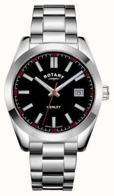 Rotary Hombres | henley | esfera negra | pulsera de acero inoxidable GB05180/04