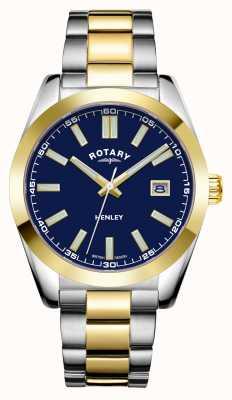Rotary Hombres | henley | esfera azul | pulsera de acero inoxidable de dos tonos GB05181/05