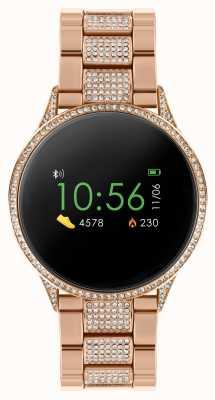 Reflex Active Reloj inteligente Serie 4 | pantalla táctil a color | pulsera de acero inoxidable en oro rosa con piedras engastadas RA04-4014