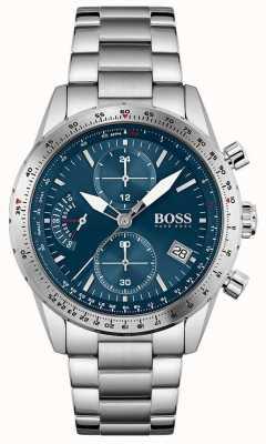 BOSS   edición piloto   hombres   pulsera de acero inoxidable   esfera azul   1513850