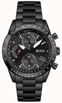 BOSS | hombres | edición piloto | pulsera negra | esfera de cronógrafo negro | 1513854