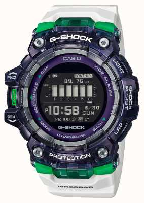 Casio G-shock | serie deportiva vital | correa de silicona blanca | esfera negra | Bluetooth GBD-100SM-1A7ER