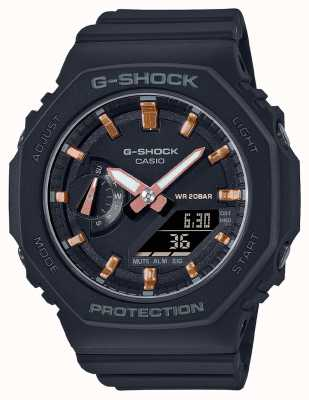 Casio G-shock de tamaño medio | correa de resina negra | esfera negra GMA-S2100-1AER