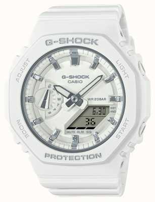 Casio G-shock de tamaño medio | correa de resina blanca | esfera blanca GMA-S2100-7AER