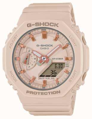 Casio G-shock de tamaño medio | correa de resina rosa pálido | esfera rosa GMA-S2100-4AER