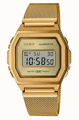 Casio Vintage | digital | malla de acero inoxidable pvd dorado A1000MG-9EF