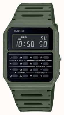 Casio Reloj calculadora retro | correa de resina verde | esfera negra CA-53WF-3BEF