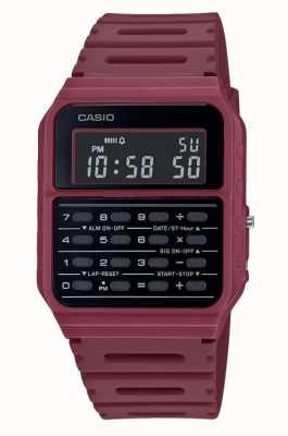 Casio Reloj calculadora retro | correa de resina de color rojo oscuro | esfera negra CA-53WF-4BEF