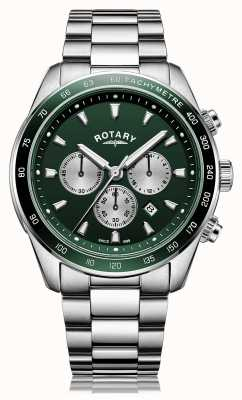Rotary Hombres | henley | cronógrafo | esfera verde | pulsera de acero inoxidable GB05109/24