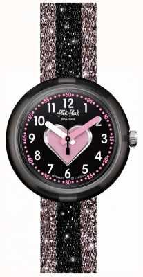 Flik Flak Cuoricino | correa textil rosa / negra | esfera negra FPNP071