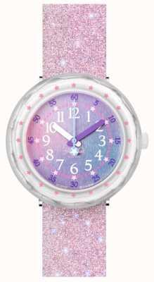 Flik Flak Pearlaxus | correa de silicona rosa purpurina | esfera multicolor FCSP107