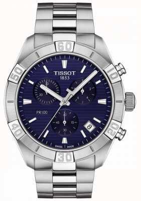 Tissot Pr100 sport   cronógrafo   esfera azul   pulsera de acero inoxidable T1016171104100