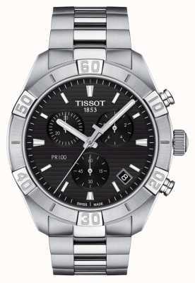 Tissot Pr100 sport   cronógrafo   esfera negra   pulsera de acero inoxidable T1016171105100