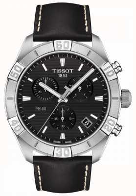 Tissot Pr100 sport   cronógrafo   esfera negra   correa de cuero negro T1016171605100