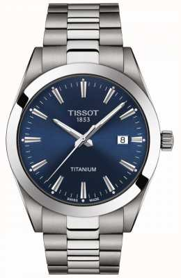 Tissot Caballeros titanio | pulsera titanio gris / plata | esfera azul T1274104404100