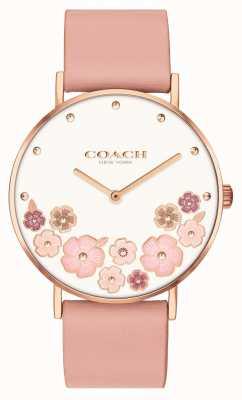 Coach Perry | correa de piel de becerro rosa para mujer | esfera floral 14503770