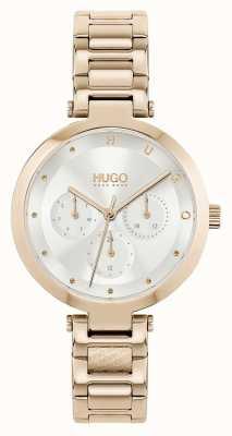 HUGO #esperanza múltiple | pulsera de acero en tono oro rosa para mujer | esfera plateada 1540087