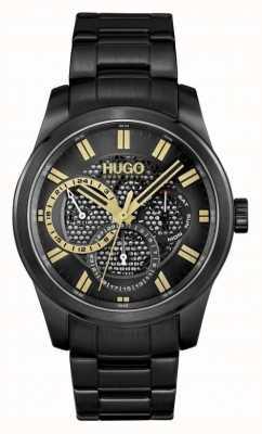 HUGO #esqueleto | pulsera ip negra para hombre | esfera negra 1530192