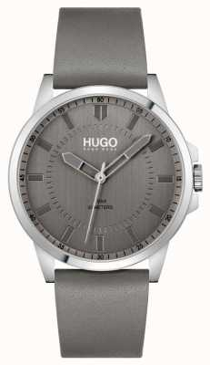 HUGO #first | correa de cuero gris para hombre | esfera gris 1530185