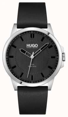 HUGO #first | correa de cuero negro para hombre | esfera negra 1530188