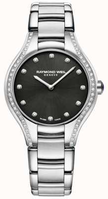 Raymond Weil Noemia | pulsera de acero inoxidable para mujer | esfera de diamante 5132-STS-20081