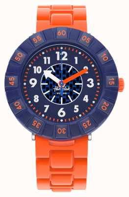 Flik Flak Orangebrick | correa de silicona naranja | esfera azul FCSP103