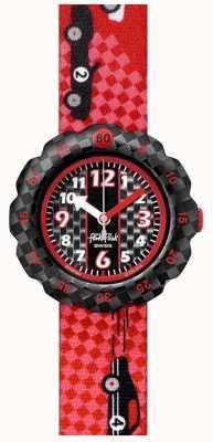 Flik Flak 3 2 1 ¡adelante! | correa de tela con estampado de coche de carreras rojo | esfera negra FPSP044