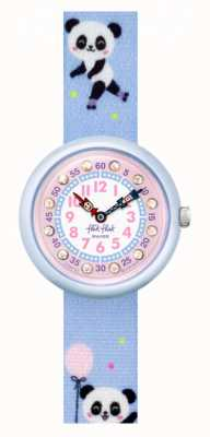 Flik Flak Pandi panda | correa de tela con estampado de panda azul | esfera rosa FBNP163