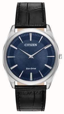 Citizen Stiletto | impulsión ecológica de los hombres | correa de cuero negro | esfera azul AR3070-04L