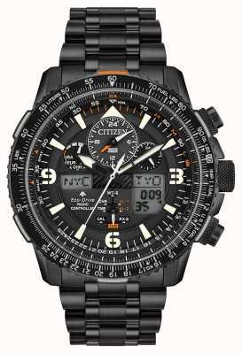 Citizen Skyhawk en | pulsera de acero ip negro para hombre | esfera negra JY8075-51E