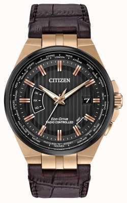 Citizen Mundo de los hombres perpetuo en | correa de cuero marrón CB0168-08E