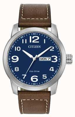 Citizen Correa de cuero marrón eco-drive para hombre wr100 BM8471-19L
