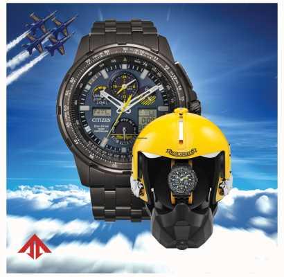 Citizen Eco-drive para hombre controlado por radio | promaster skyhawk | ángeles azules | caja de presentación de casco JY8097-58L