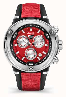 Ducati Dt001 | cronógrafo | esfera roja | correa de silicona roja DU0064-CCH.A04