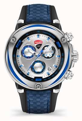 Ducati Dt001 | cronógrafo | esfera plateada | correa de silicona azul DU0064-ECH.B03