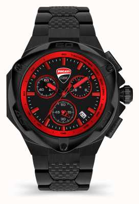 Ducati Dt002 | cronógrafo | esfera negra | brazalete de acero pvd negro DU0065-ECHB.B01