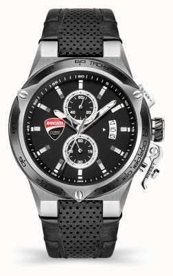 Ducati Dt003 | cronógrafo | esfera negra | correa de cuero negro DU0066-CCH.B01