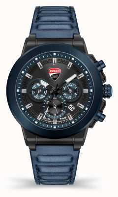 Ducati Dt004 | tiempo de duelo | esfera negra | correa de cuero azul DU0068-CCH.A03