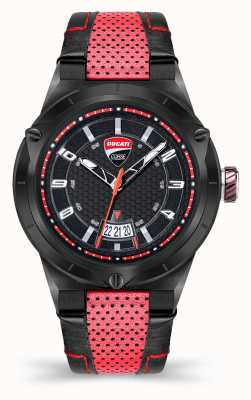 Ducati Dt006 | esfera negra | correa de cuero rojo DU0072-3HE.A01