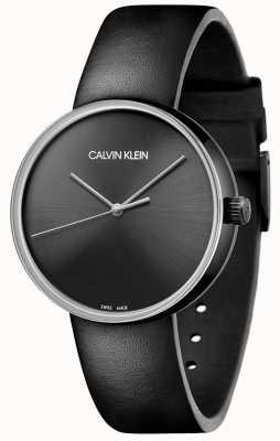 Calvin Klein Correa de piel negra para mujer | esfera negra KBL234C1