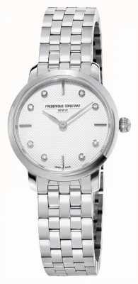 Frederique Constant Esfera fina de diamantes para mujer   pulsera de acero inoxidable FC-200STDS26B