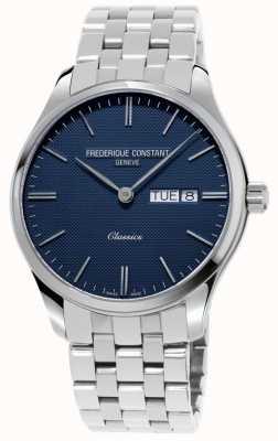 Frederique Constant Cuarzo clásico de los hombres | pulsera de acero inoxidable | esfera azul FC-225NT5B6