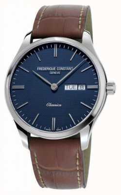 Frederique Constant Cuarzo clásico de los hombres | correa de cuero marrón | esfera azul FC-225NT5B6
