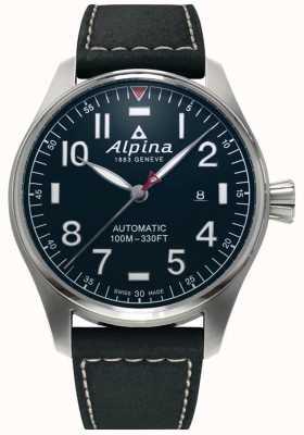 Alpina Automático piloto inteligente para hombres | correa de cuero negro | esfera azul oscuro AL-525NN4S6